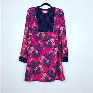 NWOT Maeve Pink Blue Polka Dot Floral Long Dress 2